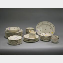 Sixty-five Piece Clarice Cliff Royal Staffordshire Devonshire Partial Lunch Service.