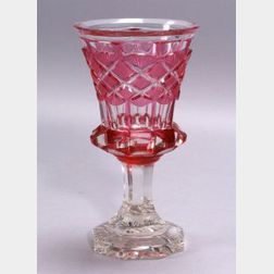 Cut Overlay Glass Goblet