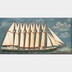 Ship Diorama of the Seven-Mast Steel Schooner Thomas W. Lawson