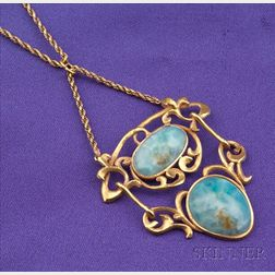 Arts & Crafts Chrysacolla Pendant Necklace, Emma Heintz