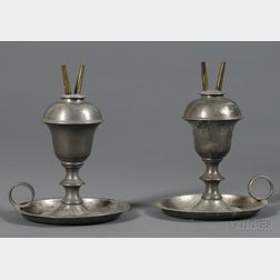 Pair of Pewter Hand Lamps