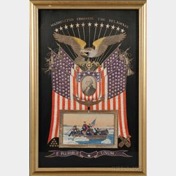 """Patriotic Painted and Embroidered Silk """"Washington Crossing the Delaware"""" Picture"""
