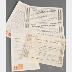 Large Group of Potomska Mills Stock Certificates