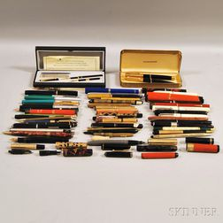 Fifty-one Assorted Late Victorian and Vintage Fountain Pens, Mechanical Pencils,   Felt Pens, Parts, Etc.