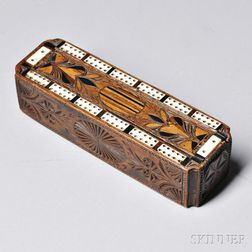 "Inlaid and ""Friesian""-carved and Inlaid Game Box"