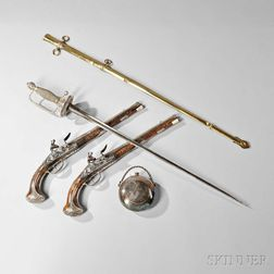 Pair of Holster Pistols, Silver-hilted Small Sword, and Flask