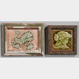 Two Framed Providential Tile Works Art Pottery Tiles