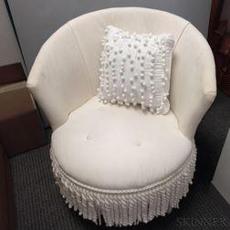 White-upholstered Barrel-back Armchair