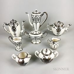 Eight Mostly Lenox Silver Overlay Ceramic Tableware Items