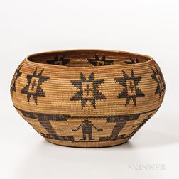 Yokuts Polychrome Pictorial Basketry Bowl