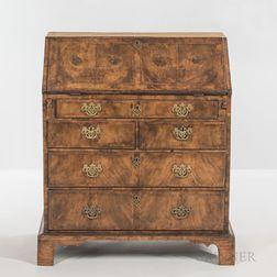 George III Burlwood-veneered Slant-lid Desk