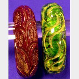 Two Bakelite Carved Bangles