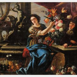 Flemish School, 17th Century Style      Arranging Flowers