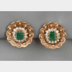 14kt Gold, Emerald, and Diamond Earclips