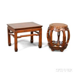 Contemporary Asian Hardwood Low Table and Drum Stool