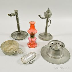 Six Pewter and Glass Items