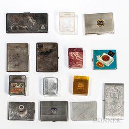 Fourteen World War II Cigarette Cases