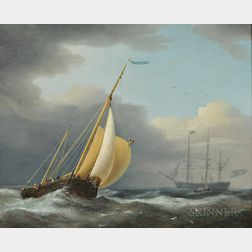 Attributed to Dominic Serres (British, 1722-1793)      Coastal Shipping in Rough Seas