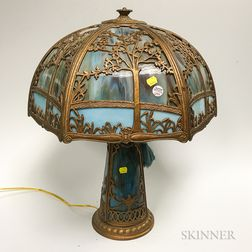 Bronzed Metal and Slag Glass Table Lamp