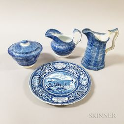 Three Pieces of Blue Spatterware and an Enoch Wood & Sons Transfer-decorated Plate