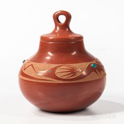 San Ildefonso Lidded Pottery Jar
