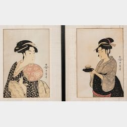 Set of Two Kitagawa Utamaro (1753-1806) Woodblock Prints