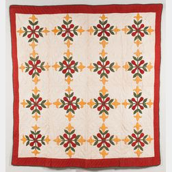 Hand-stitched Floral Applique Quilt