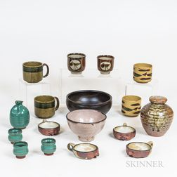 Group of Japanese and Korean Glazed Studio Pottery and Kilnware