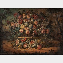 Dutch School, 18th Century Style      Floral Still Life in a Landscape