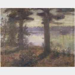 Harold Harrington Betts (American, b. 1881)  Nocturne, A Lake George View