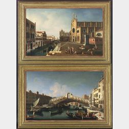 Manner of Giovanni Antonio Canale, called Il Canaletto (Italian, 1697-1768)  Lot of Two Venice Views:  Church of the Frari