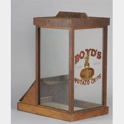 """""""Boyd's Potato Chips, Revere Beach"""" Retail Glass and Pine Counter Cabinet"""