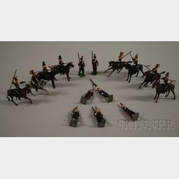 Group of Sovereign's Standards/Escorts Lead and Metal Painted Soldiers