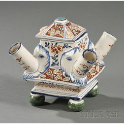 Polychrome Decorated Delft Four-spout Vessel and Cover