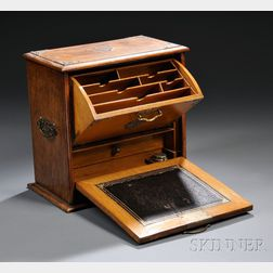 Victorian Brass-mounted Oak Writing Cabinet