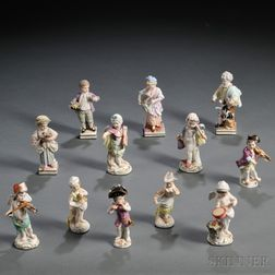 Twelve German Porcelain Figures