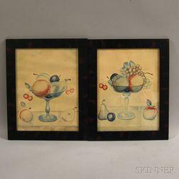 Pair of Framed Caroline Hurd Watercolor Still Lifes