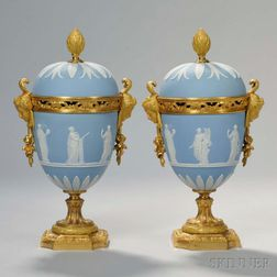 Pair of Wedgwood Blue Jasper and Gilt-bronze-mounted Vases and Covers