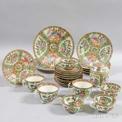 Group of Rose Medallion Cups and Dishes