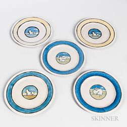 Five Saturday Evening Girls Pottery Plates