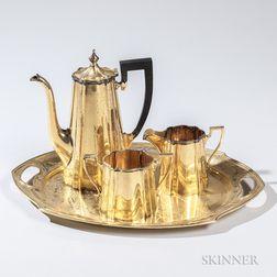 Four-piece American Silver-gilt Coffee Service