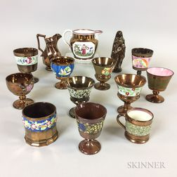 Fourteen Copper Lustre Ceramic Items