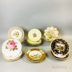Twenty-four Mostly Hand-painted Porcelain Plates