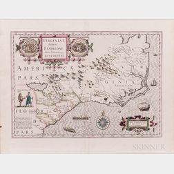 United States, Southeast, Virginia and the Carolinas. Jodocus Hondius (1563-1612) Virginiae Item et Floridae Americae Provinciarum, Nov
