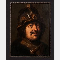 After Pieter Jansz Quast (Dutch, 1606-1647)      Tronie of a Soldier, Head and Shoulders, Wearing a Helmet and a Gorget