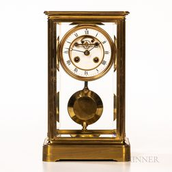 French Lacquered Brass and Glass Crystal Regulator