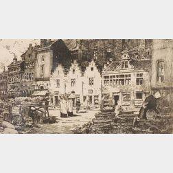 Lot of Four European Views: Winifred W. Bosworth (American, b. 1885), The Dutch Market; Sir David Young Cameron (British, 1865-1945), A