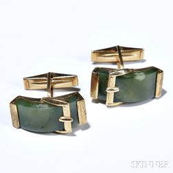 14kt Gold and Nephrite Cuff Links, each with buckle motif.