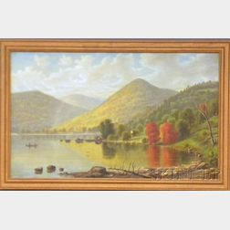 19th/20th Century American School Oil on Canvas Depicting an Indian Canoe in a   Mountain Lake