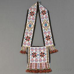 Winnebego Beaded Cloth Bandolier Bag